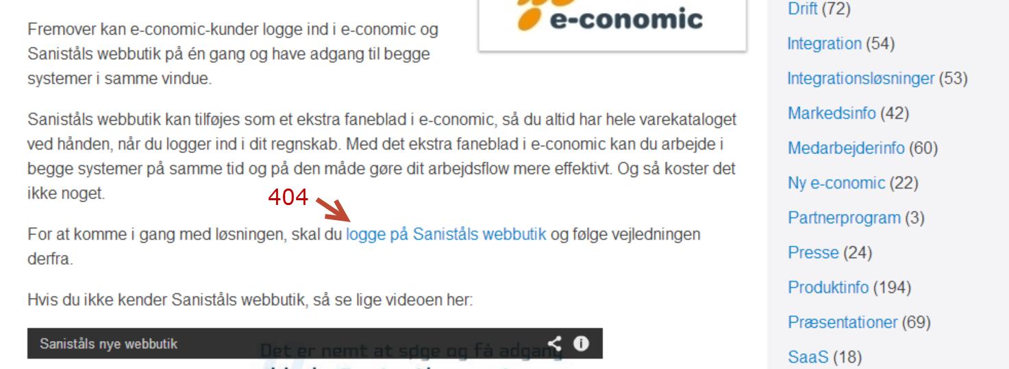 Dødt link på Economics hjemmeside