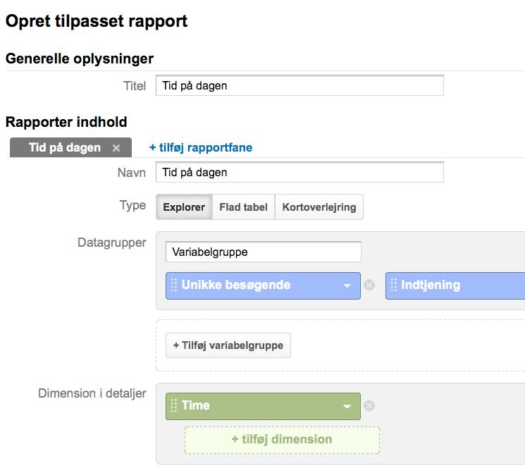 Se tidspunkt på dagen i Google Analytics